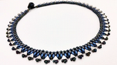 Egyptian Collar - Beadwork Necklace Kit with Kheops Par Puca and SuperDuo Beads (Silver/Blue)